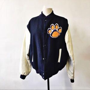 Vintage Clemson Leather Sleeve Letterman Jacket